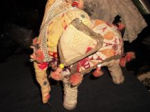 VINTAGE HAND MADE ELEPHANT EMBROIDERED FIGURE SEQUINS TASSELS BEADS STUFFED 9""